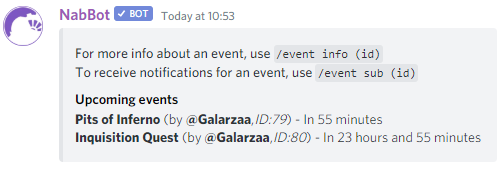 Using the event command
